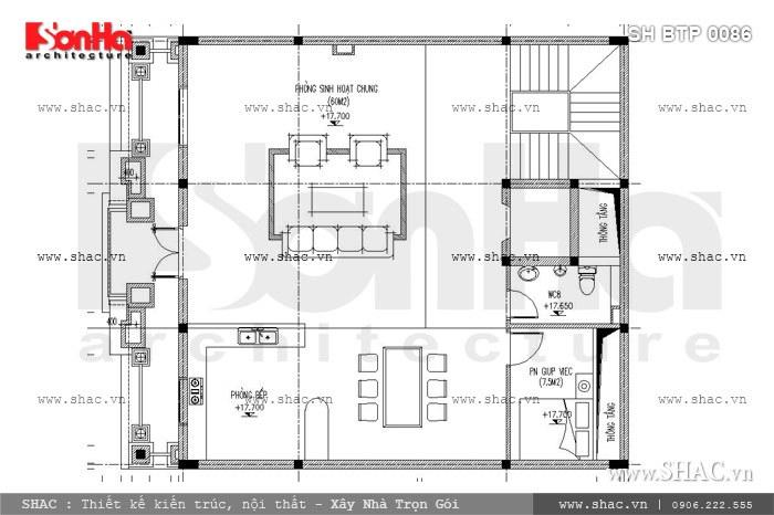 Phương án thiết kế mặt bằng tầng 5 bao gồm phòng sinh hoạt chung, phòng bếp ăn và một phòng ngủ của người giúp việc được bố trí ngăn nắp