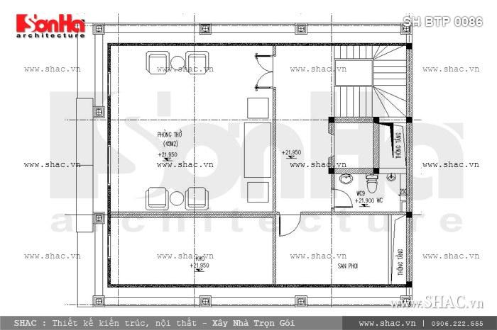 Cuối cùng là bản vẽ mặt bằng công năng tầng áp mái của mẫu thiết kế biệt thự cổ điển 6 tầng