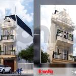 Bản vẽ nhà phố 3 tầng mặt tiền kiểu Pháp đẹp - SH NOP 0105 7