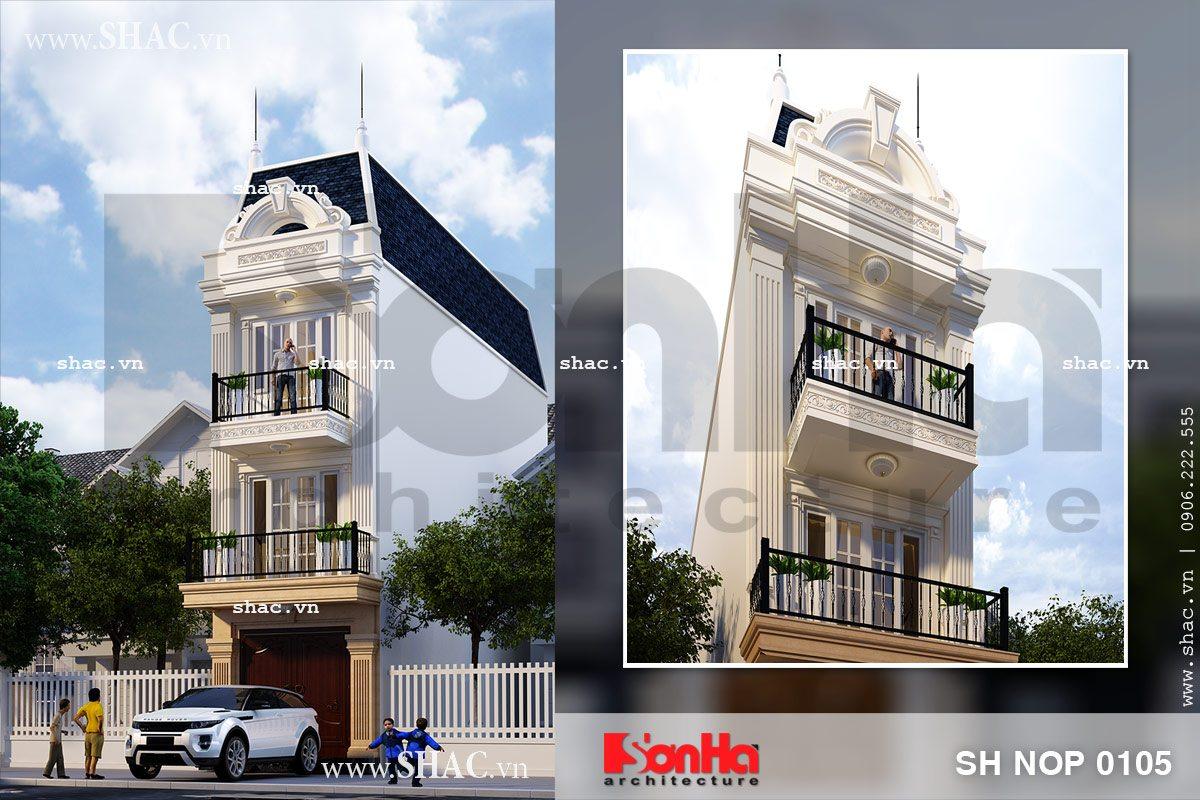 Bản vẽ nhà phố 3 tầng mặt tiền kiểu Pháp đẹp sh nop 0105