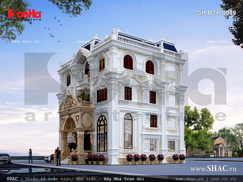 Biệt thự 4 tầng mang phong cách cổ điển sh btp 0089