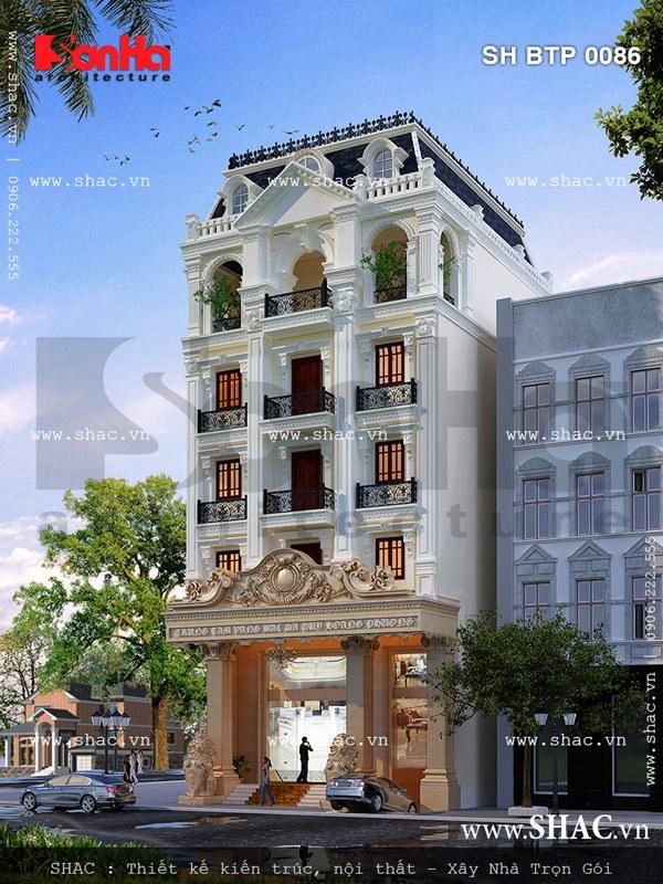 Mẫu thiết kế biệt thự  6 tầng kết hợp kinh doanh cao cấp mang phong cách cổ điển