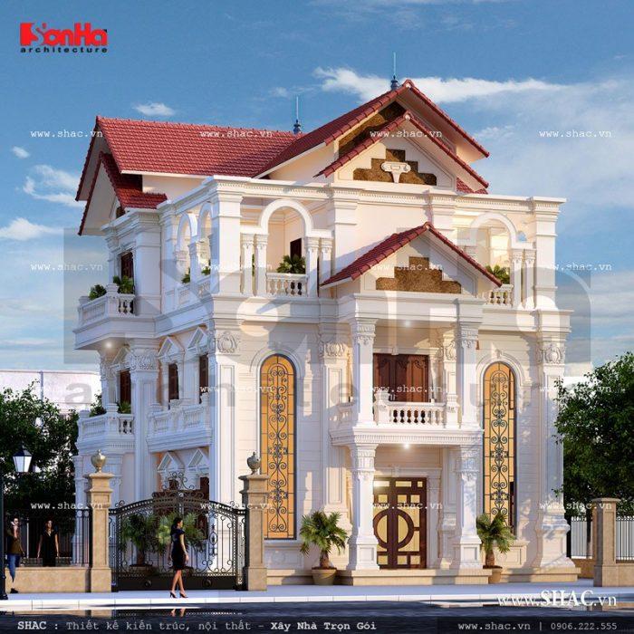 Mẫu biệt thự kiến trúc Pháp 3 tầng ấn tượng với sự kết hợp hai gam màu trắng đỏ khá hợp lý tại ngoại thất công trình