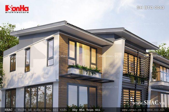 Thêm góc view cho thấy sự sang trọng và tinh tế của thiết kế kiến trúc biệt thự hiện đại 2 tầng