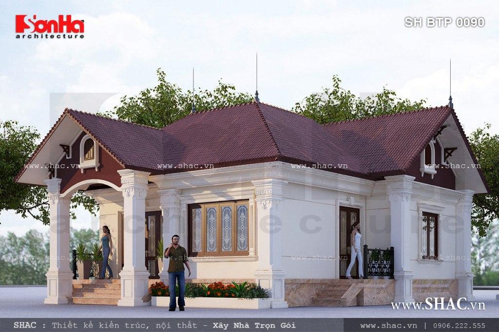 Phối cảnh tổng thể của mẫu thiết kế biệt thự một tầng mái ngói tại Hải Phòng đơn giản mà sang trọng