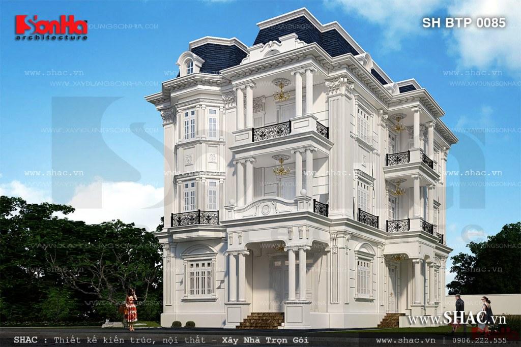 Mẫu thiết kế biệt thự trắng kiến trúc Pháp 3 tầng cổ điển sang trọng tại Quảng Ninh