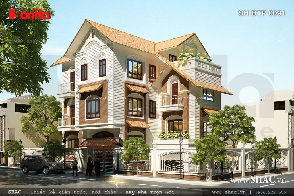 Mẫu thiết kế biệt thự tân cổ điển 3 tầng mái chéo đẹp tại TP. Hạ Long tỉnh Quảng Ninh