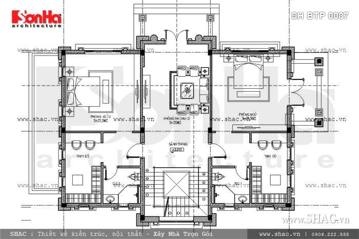 Bản vẽ thiết kế mặt bằng công năng tầng 2 có cách bố trí các phòng khá khoa học