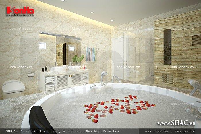 Cận cảnh thiết kế bồn tắm sang trọng và tiện nghi là không gian yêu thích của các thành viên trong gia đình