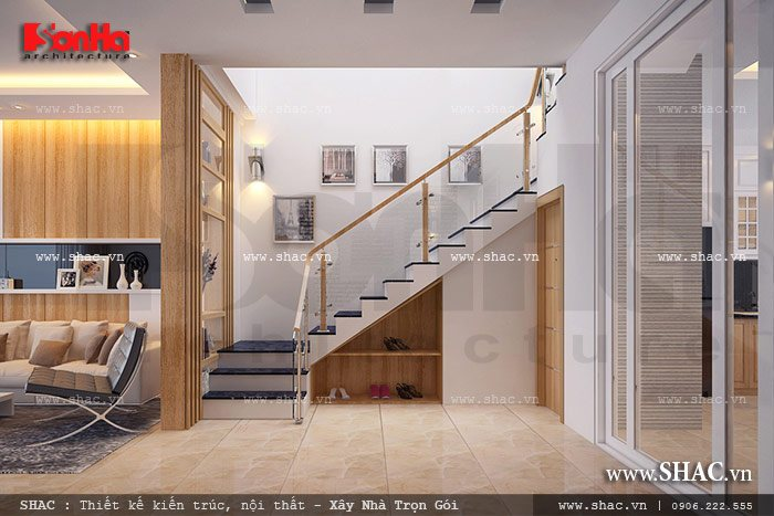 Cầu thang nhà ống đơn giản mà đẹp sh nod 0148