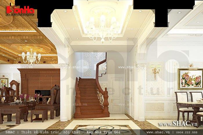 Không gian thang tầng 1 của biệt thự sh btp 0085