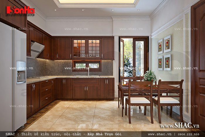 Khu bếp ăn được thiết kế giản dị nhưng vô cùng ấn tượng và mang đến cảm giác ấm cúng trong không gian thoáng đãng tránh ám mùi nấu nướng