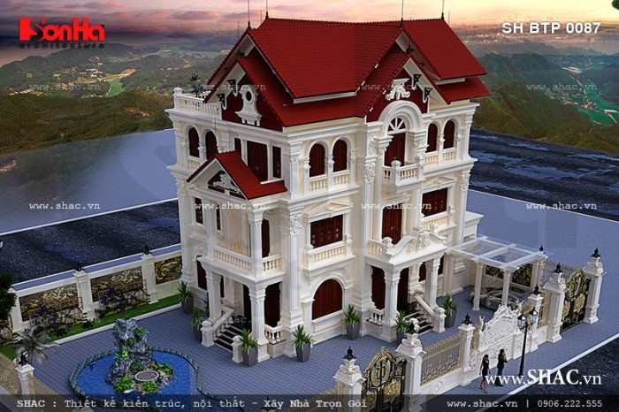 Phương án thiết kế kiến trúc Pháp của mẫu biệt thự 3 tầng mái ngói đỏ tại Quảng Ninh rất được chủ đầu tư đánh giá cao
