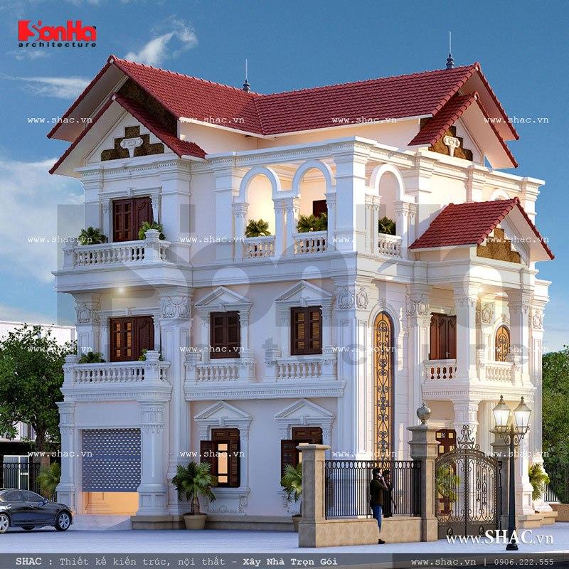 Kiến trúc đẹp mắt của mẫu biệt thự Pháp mái ngói sh btp 0088