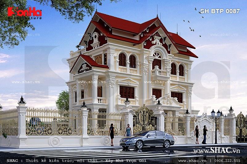 Mẫu biệt thự kiến trúc pháp 3 tầng mái ngói sh btp 0087