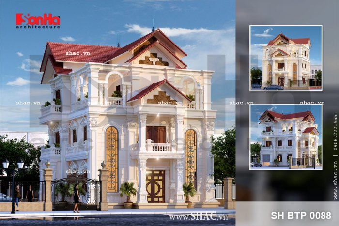 Mẫu thiết kế biệt thự Pháp mái ngói đỏ 3 tầng đẳng cấp tại Thái Bình với nguyên liệu đậm chất cổ điển