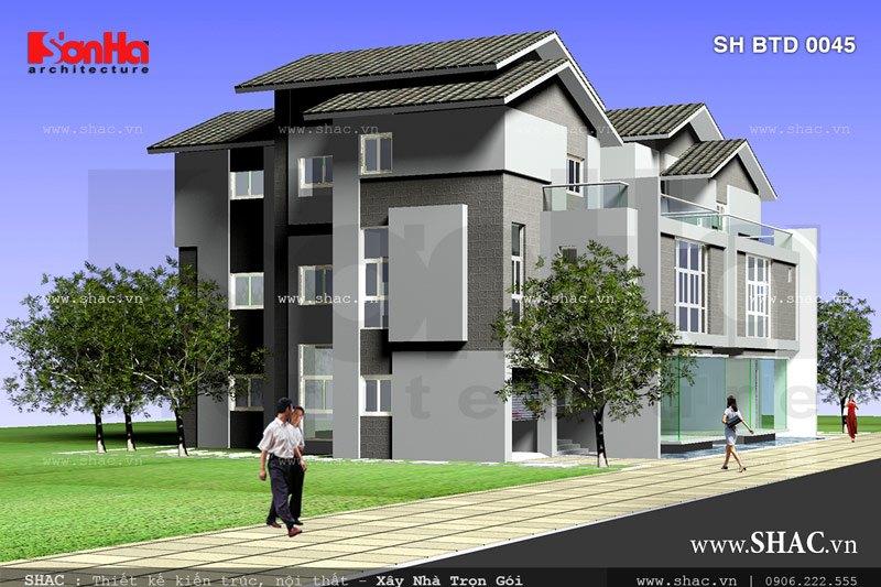 Mẫu biệt thự song lập 3 tầng đẹp sh btd 0045