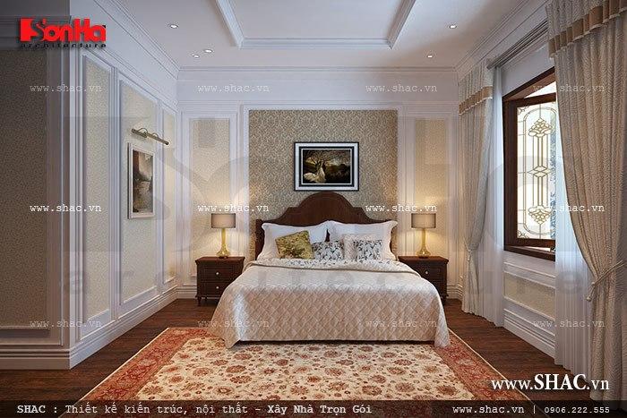 Thiết kế phòng ngủ nội thất đẹp trong không gian thoáng rộng của biệt thự mini cổ điển