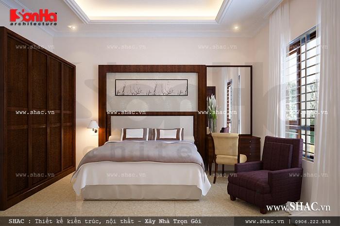 Mẫu phòng ngủ có thiết kế nội thất mang màu sắc trầm nhã nhặn, khá thoáng đãng, đủ ánh sáng và gió mát hợp lý