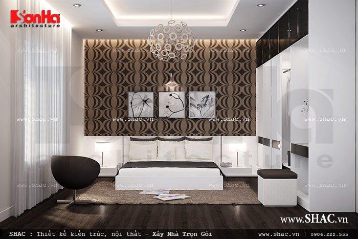 Phòng ngủ duy nhất trong căn biệt thự được thiết kế nội thất theo phong cách hiện đại từ chất liệu sử dụng cho đến màu sắc được lựa chọn trang trí