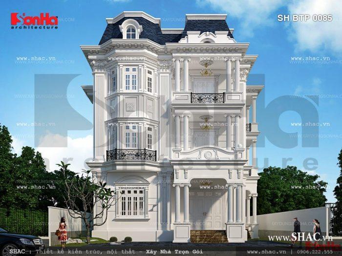 Ngôi biệt thự Pháp 3 tầng được thiết kế theo phong cách Pháp với cách tạo hình bố cục ấn tượng