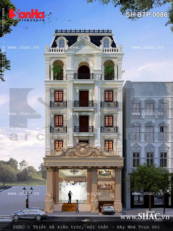 Ngôi biệt thự kiến trúc Pháp kết hợp kinh doanh vàng bạc đá quý tại Thái Bình khang trang có thiết kế kiến trúc mặt tiền đẳng cấp