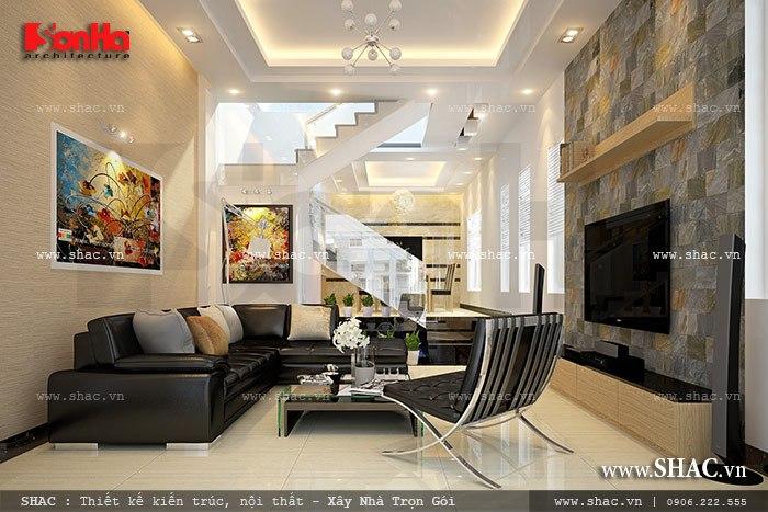 Nội thất phòng khách hiện đại của nhà phố