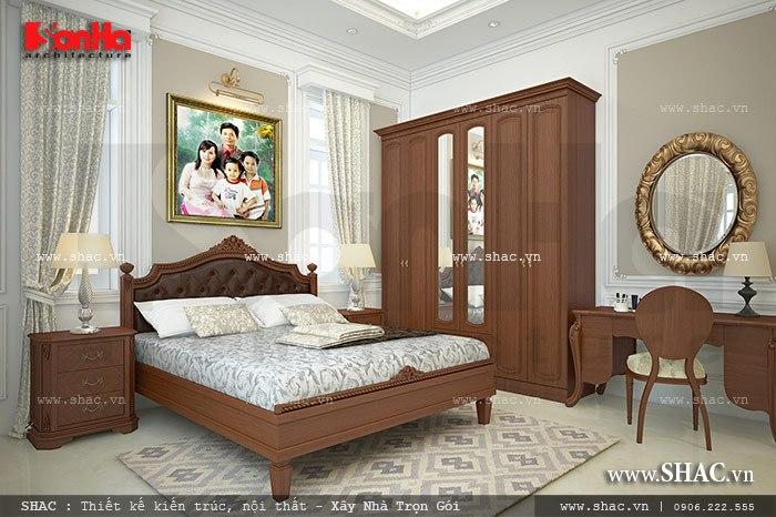 Thiết kế nội thất phòng ngủ chất liệu gỗ vừa ấm cúng vừa tiện nghi phong cách kiến trúc Pháp
