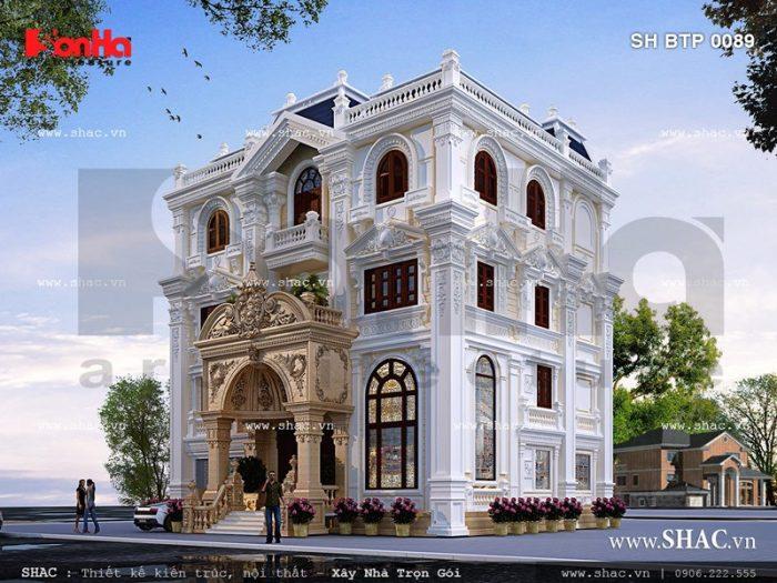 Phương án thiết kế biệt thự cổ điển 4 tầng sang trọng tại tỉnh Nghệ An