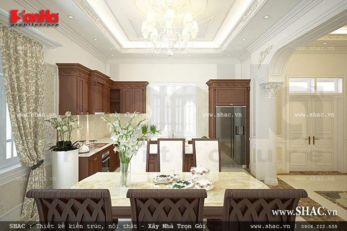 Phòng bếp ăn được bố trí hợp lý và cân đối cùng cách kết hợp màu sắc hợp thời