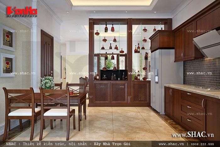 Thiết kế nội thất phòng bếp với tủ bếp kiểu dáng chữ L sử dụng chất liệu gỗ cao cấp