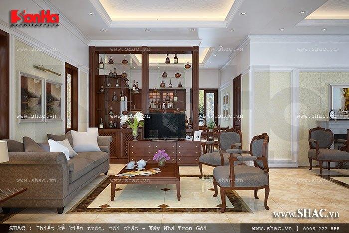 Thiết kế nội thất phòng khách biệt thự mini kiến trúc Pháp khá rộng rãi, thoáng đãng và đẹp mắt
