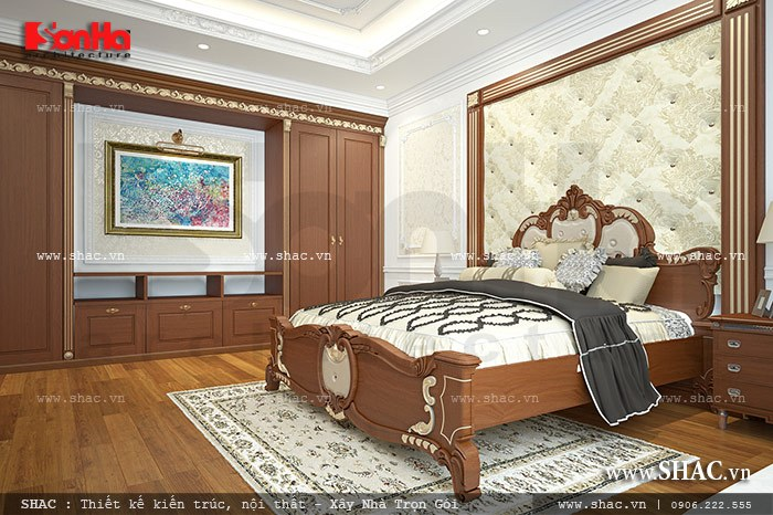 Phòng ngủ gỗ phong cách cổ điển sh btp 0085