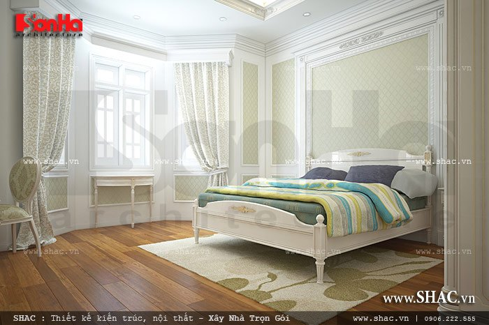 Thiết kế phòng ngủ đơn giản trong không gian thoáng cân gió cân sáng hợp lý mang vẻ đẹp cổ điển thanh thoát