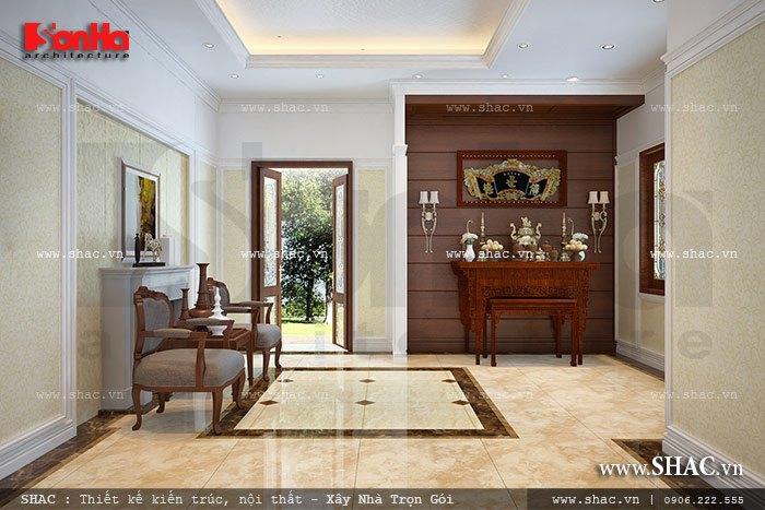 Mẫu thiết kế nội thất phòng thờ biệt thự cổ điển được bố trí vừa vặn trong không gian thoáng mà vẫn trang nghiêm