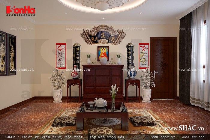 Thiết kế nội thất phòng thờ đơn giản nhưng trang nghiêm, tĩnh tại trong không gian rộng và thoáng đãng đảm bảo nhu cầu sinh hoạt tâm linh của gia đình