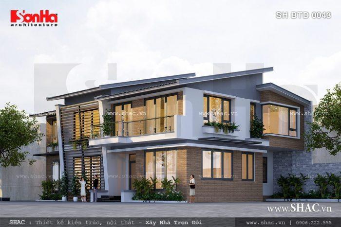 Phương án thiết kế biệt thự hiện đại 2 tầng sang trọng điển hình cho mẫu biệt thự đẹp 2017