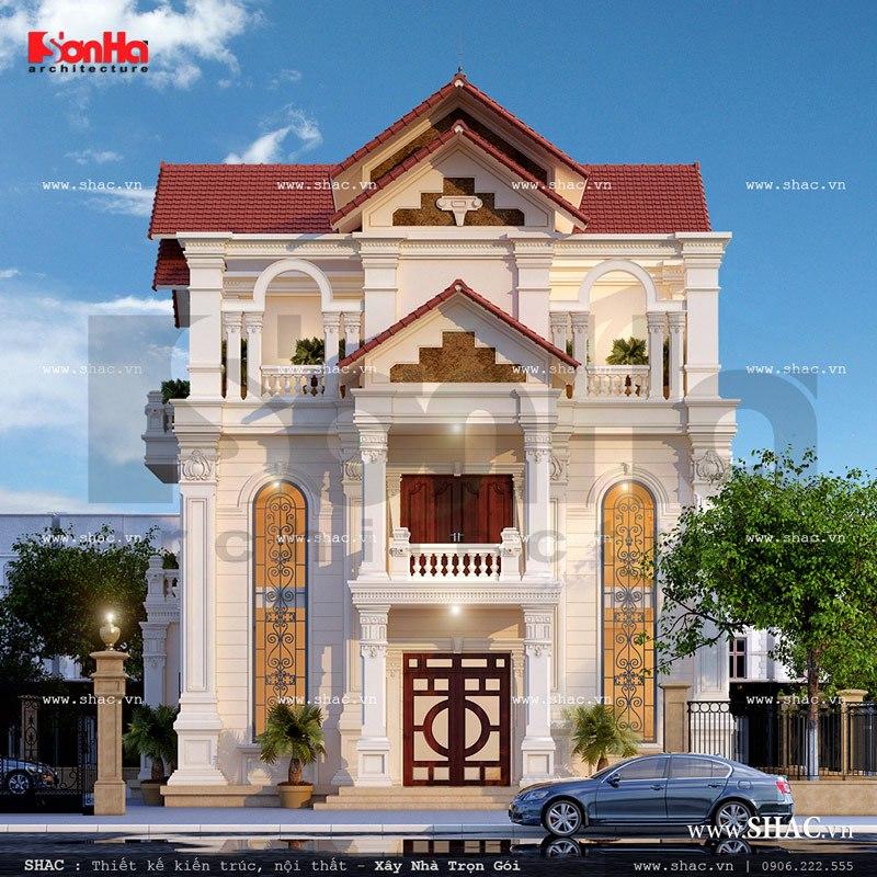 Phương án thiết kế biệt thự mái ngói đẹp sh btp 0088