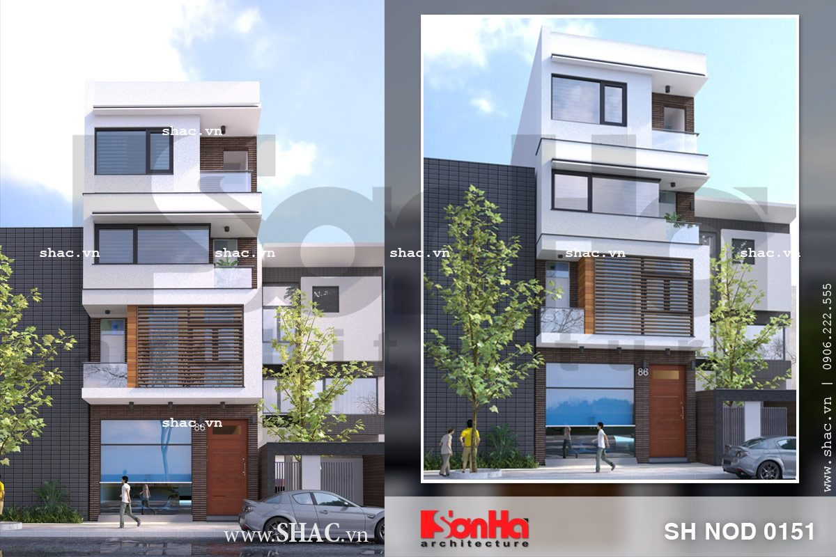 Phương án thiết kế nhà phố mặt tiền 6m hiện đại đẹp - SH NOD 0151 1