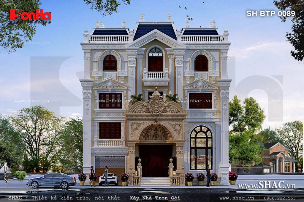 Biệt thự kiểu pháp cổ điển 4 tầng sh btp 0089