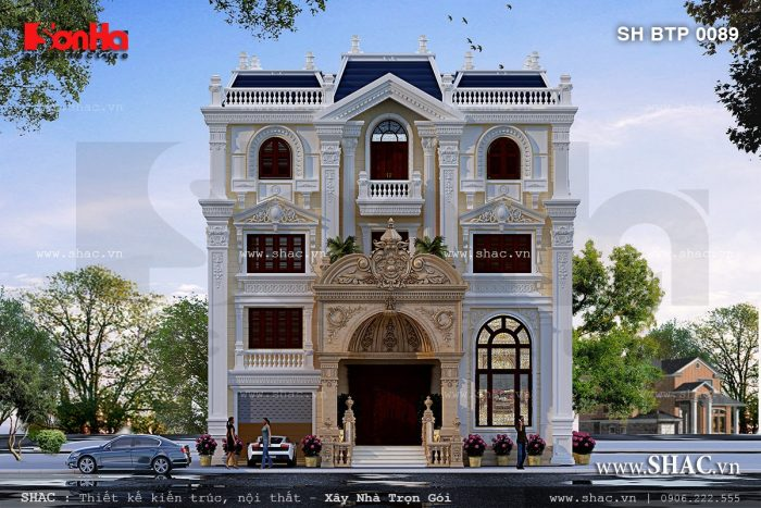 Mẫu thiết kế biệt thự kiểu Pháp cổ điển 4 tầng tiện nghi đón đầu xu hướng 2017 tại Nghệ An