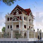 Thiết kế kiến trúc của biệt thự pháp mái ngói sh btp 0087