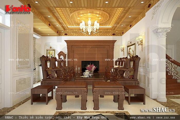 Thiết kế nội thất phòng khách cổ điển đẹp cho ngôi biệt thự kiến trúc Pháp sang trọng
