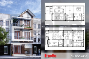 Thiết kế và bố trí công năng nhà phố mặt tiền rộng 7m sh nod 0150