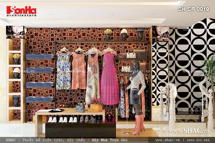 Trang trí shop quần áo đẹp và hiện đại sh sr 0019