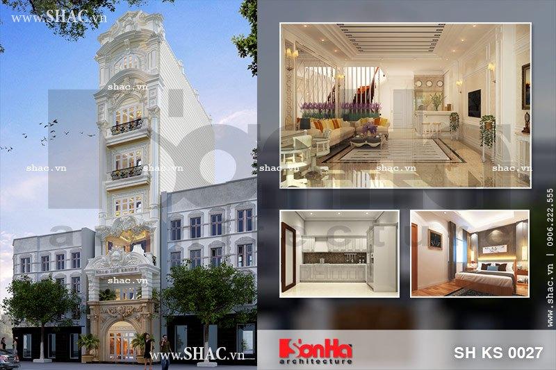 Thiết kế khách sạn mini cổ điển Pháp sang trọng sh ks 0027