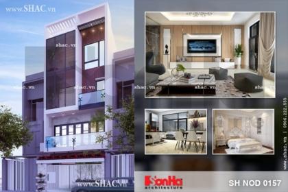Mẫu thiết kế nhà phố hiện đại 4 tầng đẹp tại Hải Phòng sh nod 0157