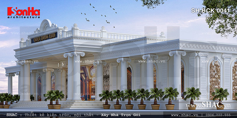 Phối cảnh kiến trúc nhà hàng tiệc cưới cổ điển đẹp sh bck 0041