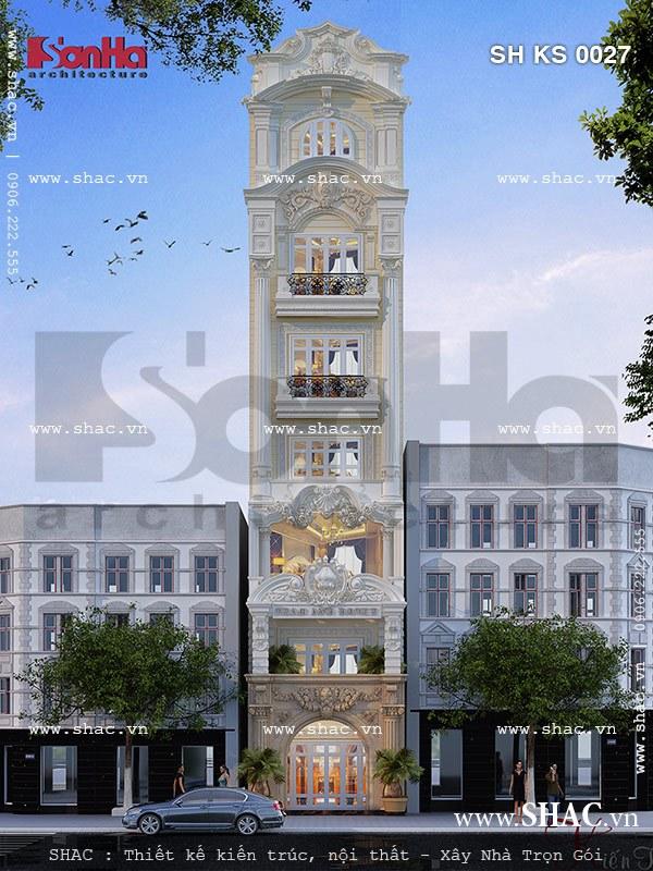 Thiết kế khách sạn mini phong cách cổ điển pháp 7 tầng tại Hà Nội với diện mạo kiêu kỳ