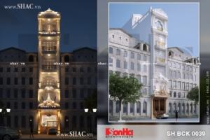 Phối cảnh kiến trúc nhà hàng phong cách cổ điển Pháp sh bck 0039